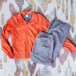 Nike, Nylon Mesh Orange Gray Track Jogger Suit Set